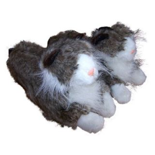 Comfy Feet Gray Long Hair Cat Animal Feet Youth Slippers   Kids Slippers