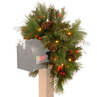 36 in. Decorative Collection White Pine Pre Lit Mailbox Swag   Battery Operated   Christmas Swags
