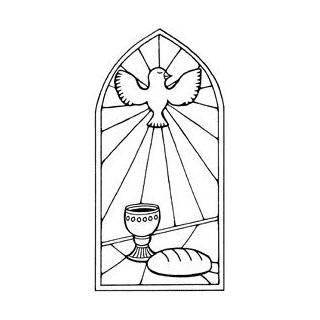 Motivstempel * Bilderstempel * Stempel * Kommunion / Konfirmation Kirchenfenster mit Taube * 261551 a: Küche & Haushalt