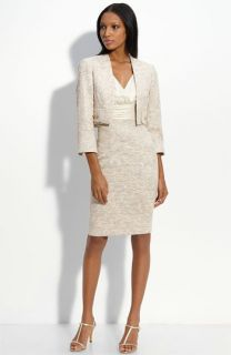 Kay Unger Satin & Metallic Tweed Sheath Dress with Crop Jacket