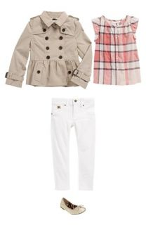 burberry trench outlet 5mmh  Burberry Trench Coat, Top and Jeans & Sam Edelman Flat Little Girls &  Big
