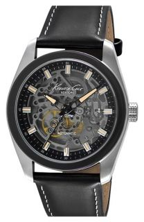Kenneth Cole New York Skeleton Automatic Leather Strap Watch, 44mm