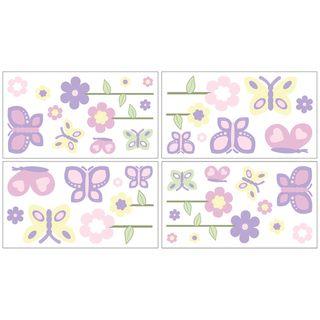 Sweet JoJo Designs Pink and Purple Butterfly Wall Decal Stickers (Set of 4) Sweet Jojo Designs Wall Decor