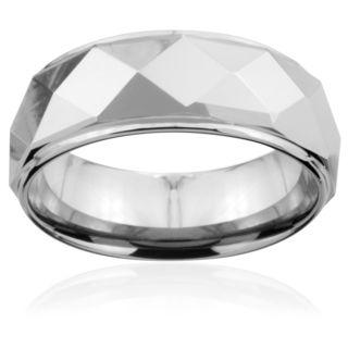 Tungsten Carbide Faceted Ridged Edge Ring (8mm) Men's Rings