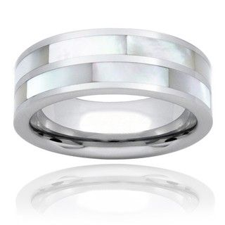 Tungsten Carbide Dual Mother of Pearl Inlay Ring Men's Rings