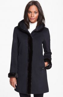 Ellen Tracy Faux Fur Trim Wool Blend Coat ( Exclusive)