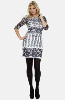 Kay Unger Print Stretch Mesh Dress (Plus Size)