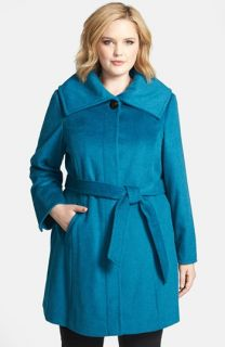 Ellen Tracy Belted Wing Collar Coat (Plus Size)