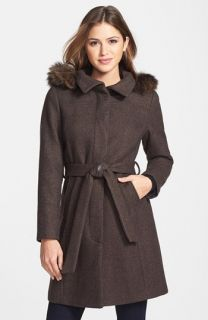 Ellen Tracy Genuine Coyote Fur Trim Hooded Coat (Online Only)