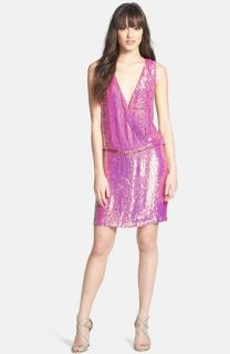 Nicole Miller Sequin Silk Blouson Dress