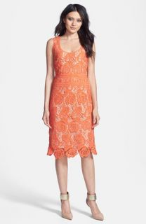 Nicole Miller Neon Venetian Lace Sheath Dress