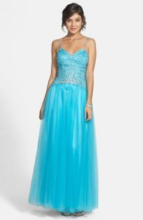 Sean Collection Beaded Bodice Tulle Gown