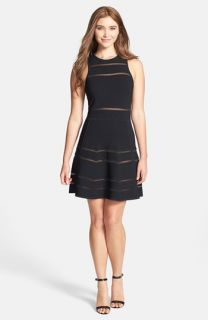 Nicole Miller Cody Banded Knit Fit & Flare Dress
