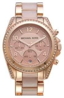 Michael Kors Blair Crystal Bezel Two Tone Bracelet Watch, 39mm