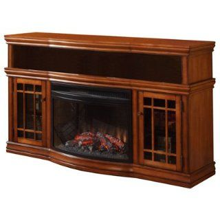 "Dwyer 57"" TV Stand with Electric Fireplace Finish: Burnished Pecan   Home Entertainment Centers"
