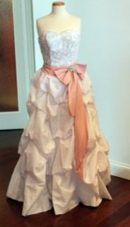 White Taffeta Wedding Dress with Optional Pink Sash and Detachable Train, Size 6: Clothing