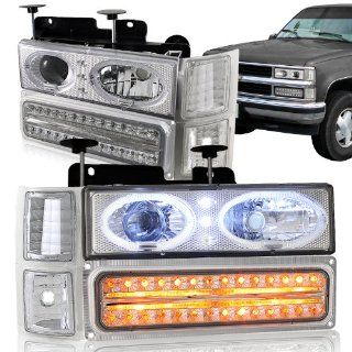 Chevy C10 LED Projector Headlights + LED Style Bumper Lights + Clear Corner Lights COMBO: Automotive