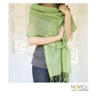 Handcrafted Cotton and Silk 'Maheshwari Summer' Shawl (India) Novica Scarves & Wraps
