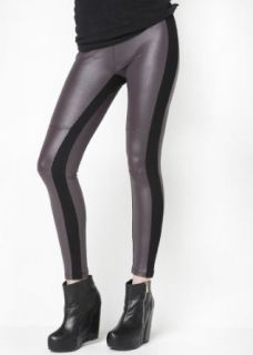 Stella Elyse Rhinestone Knees Matte Faux Leather Leggings Grey (Medium) at  Women�s Clothing store