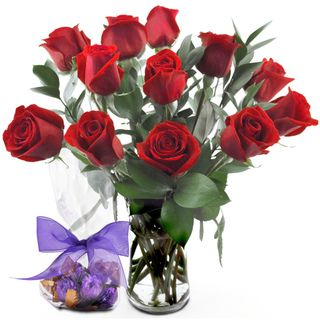 (Valentine's Day Pre Order) One dozen Red Roses with Vase Sweets in Bloom Pre Order Flowers