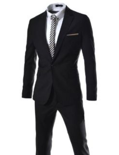 Thelees Men's Slim Fit Single Breasted 1 Button Notched Lapel Dress Suit Set: Clothing