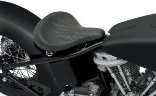 Drag Specialties Large Spring Solo Seat   Black Vinyl with Flames with Carpeted Bottom 0806 0051: Automotive