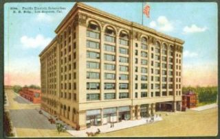 Pacific Interurban RR Building Los Angeles CA postcard 191?: Collectibles & Fine Art