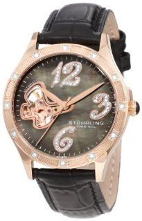Stuhrling Original Women's 196.124527 Vogue Audrey Diamond Butterfly Automatic Skeleton Leather Strap Watch: Stuhrling Original: Watches