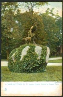 Indian Hunter Statue Cooperstown NY postcard 191?: Collectibles & Fine Art