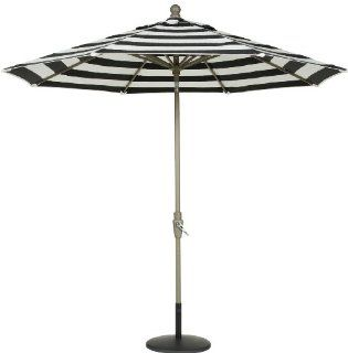 Secret Garden 9 Ft Sunbrella� Steel Cord Auto Crank Tilt Market Umbrella with Collar ROTATE Function  Black and White with UV Resistant : Patio Umbrellas : Patio, Lawn & Garden