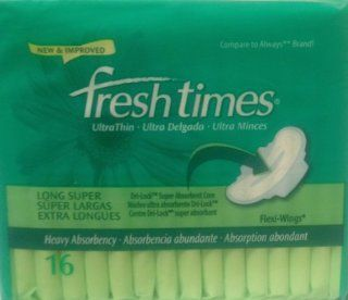 Fresh Times by First Quality   Feminine Care Sanitary UltraThins Long Super   Flexi Wings   12 x 16 pads, Total Count 192/case: Health & Personal Care