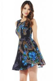 AX Paris Women's Chiffon Piping Printed Skater Dress: Clothing