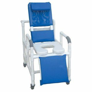 Reclining shower chair w/deluxe elongated open front commode seat, footrest, padded elevated leg e: Health & Personal Care