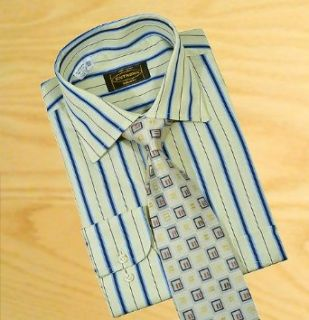Extrema By Zanetti Italy Canary Yellow With navy / Sky Blue Pinstripes 100% Mercerized Cotton Dress Shirt (2XL: 18   18.5) at  Men�s Clothing store