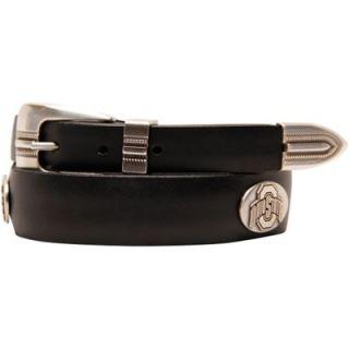 Ohio State Buckeyes Saddle Leather Tapered Concho Belt   Black