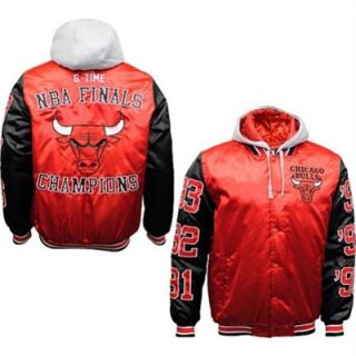 GIII Chicago Bulls 6 Time NBA Champions Commemorative Satin Jacket   Red