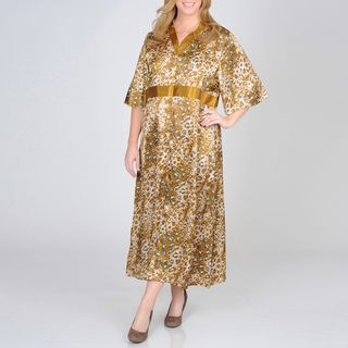 La Cera Women's Plus Size Animal Print Lounge Dress La Cera Intimates