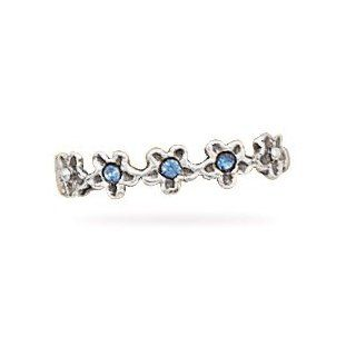 Sterling Silver Oxidized Toe Ring with Blue Crystal Stars: West Coast Jewelry: Jewelry