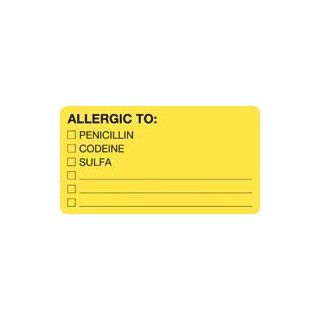 MAP1550 Chart Label Allergic To Yellow 3.25x1.75 250 Per Roll by Office Suppl: Industrial Products: Industrial & Scientific