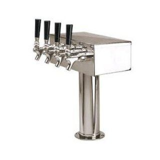 4 Tap Stainless Steel T Tower Draft Keg Beer Kegerator: Kitchen & Dining