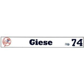 Daniel Giese #74 2008 Yankees Spring Training Game Used Locker Room Nameplate (MLB Auth)   Game Used MLB Stadium Equipment : Baseball Field Accessories : Sports & Outdoors