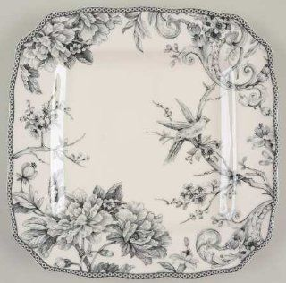 222 Fifth (PTS) Adelaide Grey & White Square Dinner Plate, Fine China Dinnerware: Kitchen & Dining