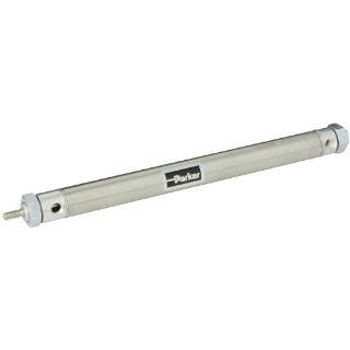 "Parker .88DXPSR08.0 Stainless Steel Air Cylinder, Round Body, Double Acting, Pivot & Nose Mount w/o Pivot Pin, Non cushioned, 7/8 inches Bore, 8 inches Stroke, 1/4 inches Rod OD, 1/8"" NPT Port: Industrial Air Cylinders: Industrial & Scientific"