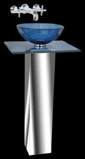 Glass Sinks Blue Glass/Stainless, Small Sink, Mini Glass Pedestal Sink  12373