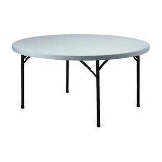 "Lightweight Plastic Folding Table 60"" Round Speckled White/Black Frame: Office Products"