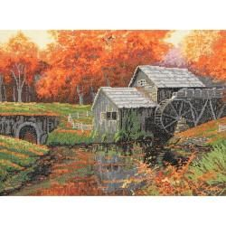 The Old Mill In October Counted Cross Stitch Kit 16 Count MCG Textiles Cross Stitch Kits