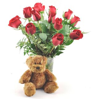 (Valentine's Day Pre Order) One Dozen Red Roses with Plush Teddy Bear and Vase Sweets in Bloom Pre Order Flowers