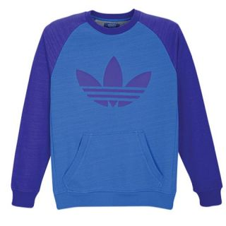 adidas Originals Trefoil Raglan Fleece Crew   Mens   Casual   Clothing   Bluebird/Blast Purple