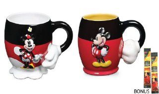 Disney Parks Mickey & Minnie Mouse 'Black & Red' Ceramic Mug Set   Disney Parks Exclusive & Limited Availability   BONUS 2 Single Cup Arabica Instant Coffee Packets Included