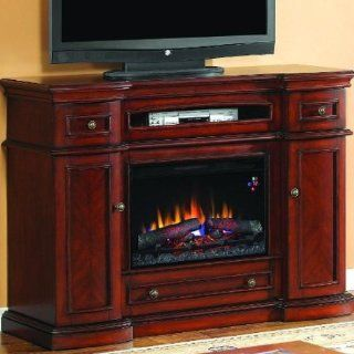 Fireplace Twin Star Classic Flame 26MM2490 C233 Montgomery Electric Fireplace With Three Pull Out Storage Drawers, Large Viewable Area, Black Frame Glass Front Face, 5 Flame Brightness Settings & In Vintage Cherry: Home Improvement